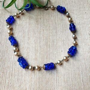 Vintage 1940s Glass Bead Choker Necklace